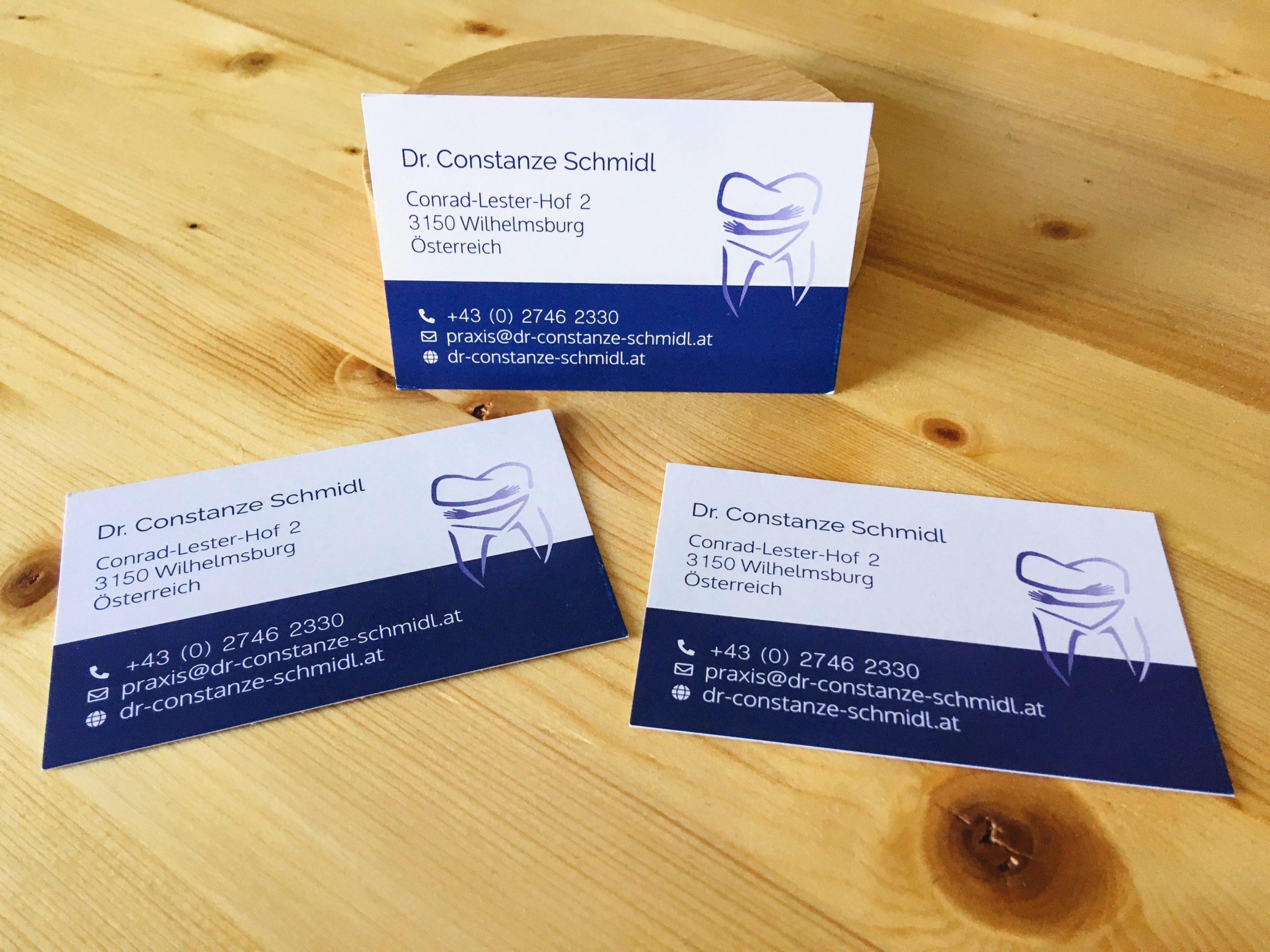 Visitenkarten und Logo für Zahnärztin Dr. Constanze Schmidl
